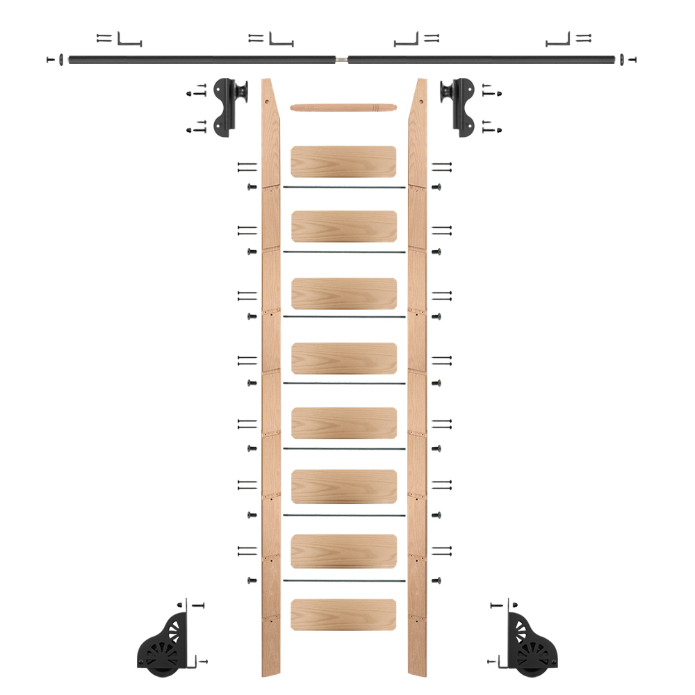 Rolling Hook 9-Foot Red Oak Ladder Kit with 8-Foot Rail and Horizontal Brackets, Black