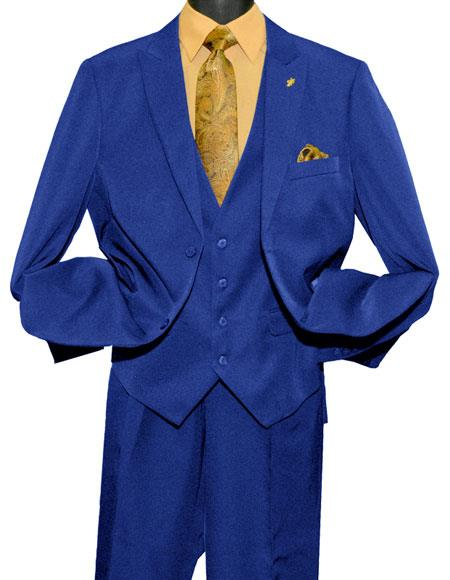 Falcone MenÕs 2 Button Single Breasted Vested Fashion Royal Blue Suit