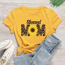 Sunflower & Letter Graphic Tee