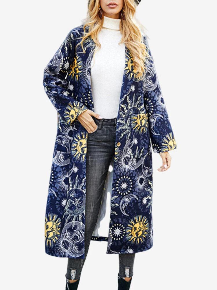 Ethnic Sun Moon Print Long Sleeve Vintage Coat For Women