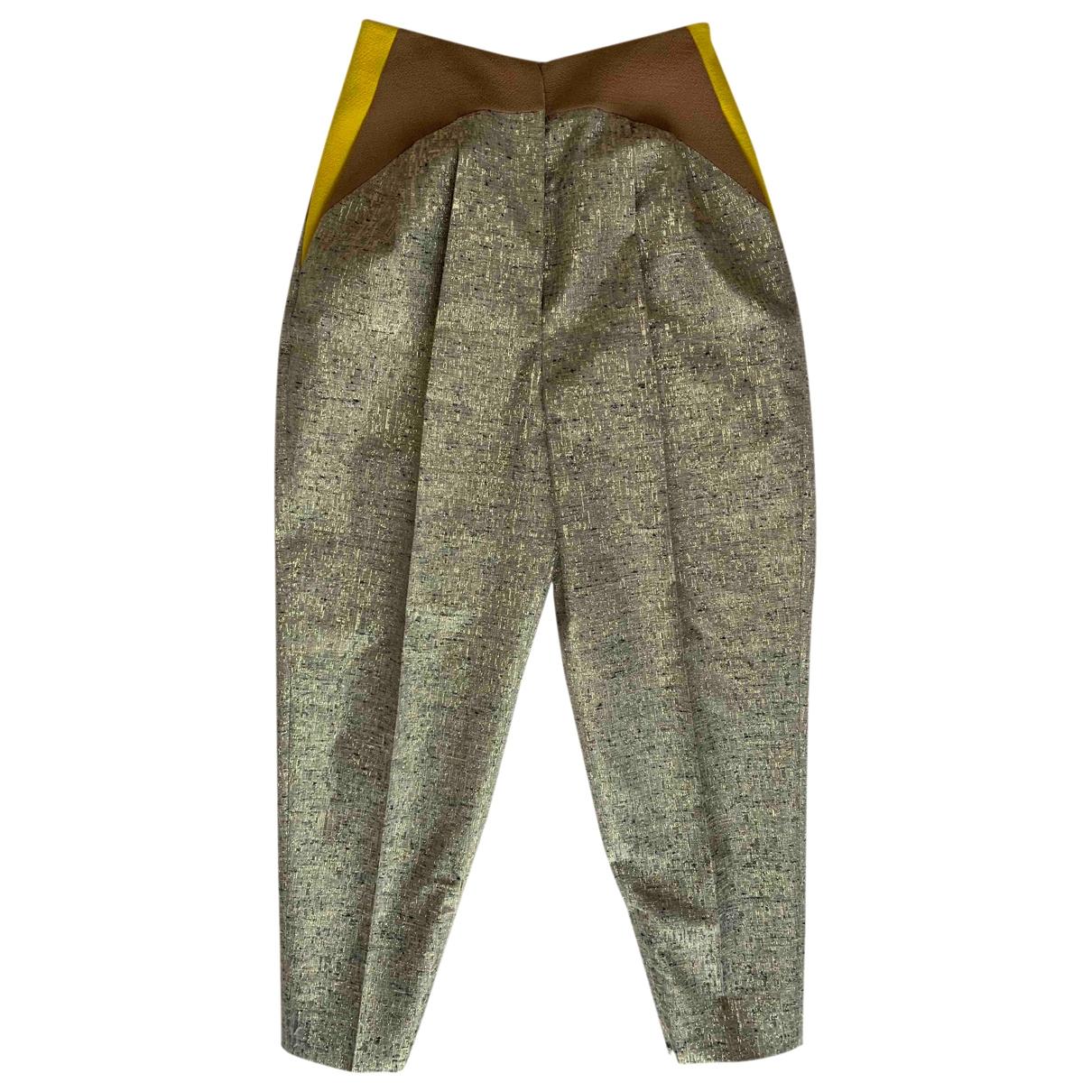 Delpozo \N Beige Silk Trousers for Women 36 FR