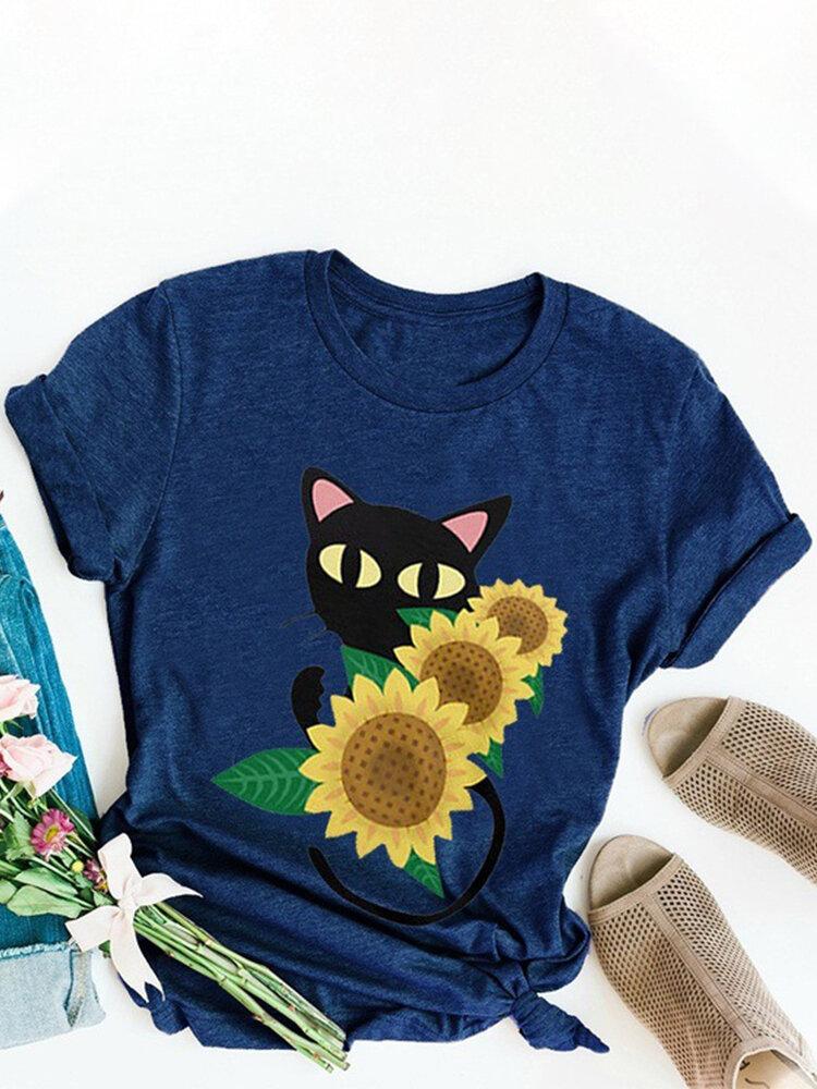 Cartoon Sunflower Printed O-Neck Short Sleeve T-shirt
