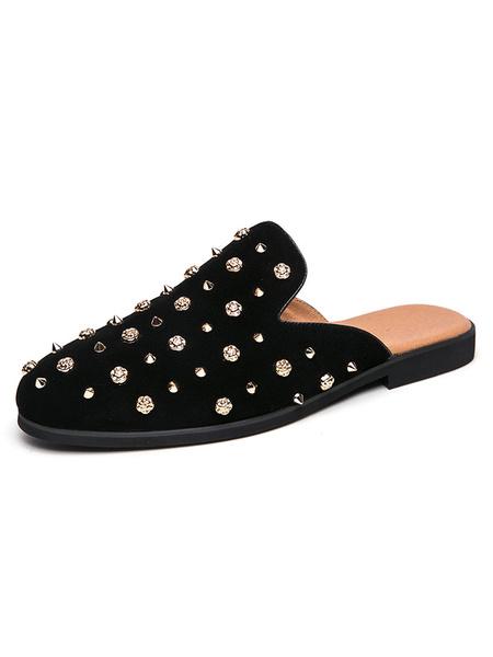 Milanoo Sandals For Men Spike Slip-On Artwork Rivets PU Leather Rubber Sole Men\'s Slipper