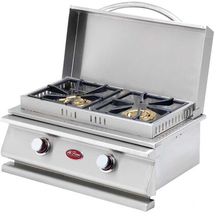 BBQ13954P 30 000 BTU Side Double Side-by-Side Burner with Two 15 000 BTU Burners  Removable Cover  and High Grade Stainless Steel