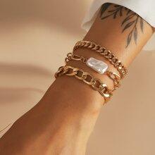 3 Stuecke Armband mit Kunstperlen Dekor