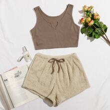 Notched Tank Top & Tie Front Teddy Shorts Lounge Set
