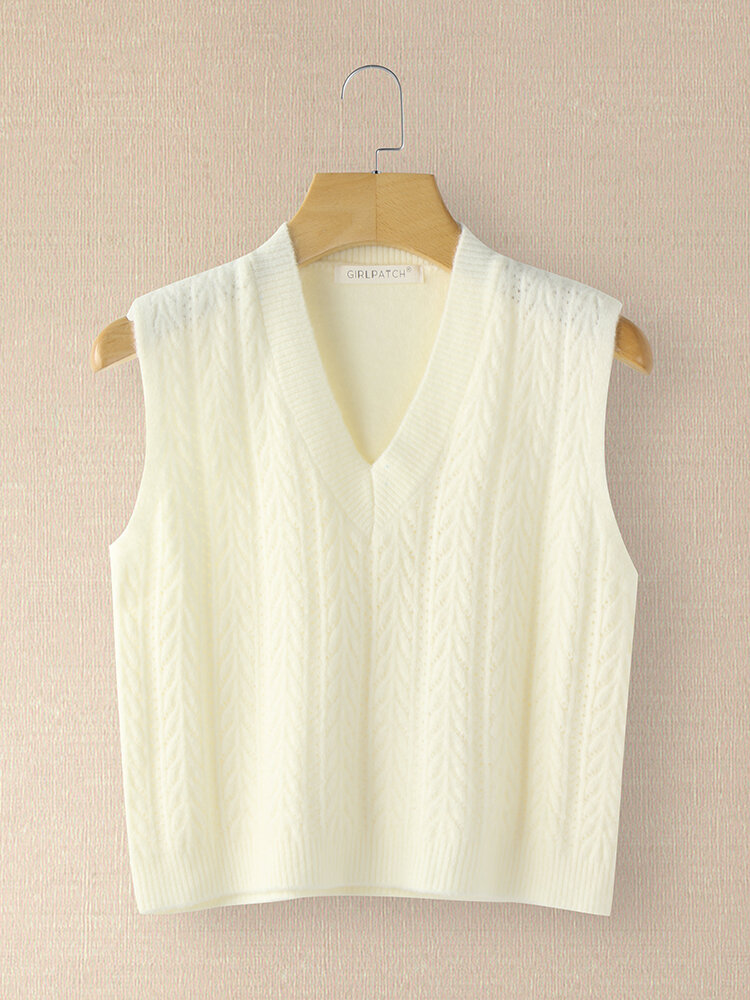 Solid Color V-neck Knit Sleeveless Sweater