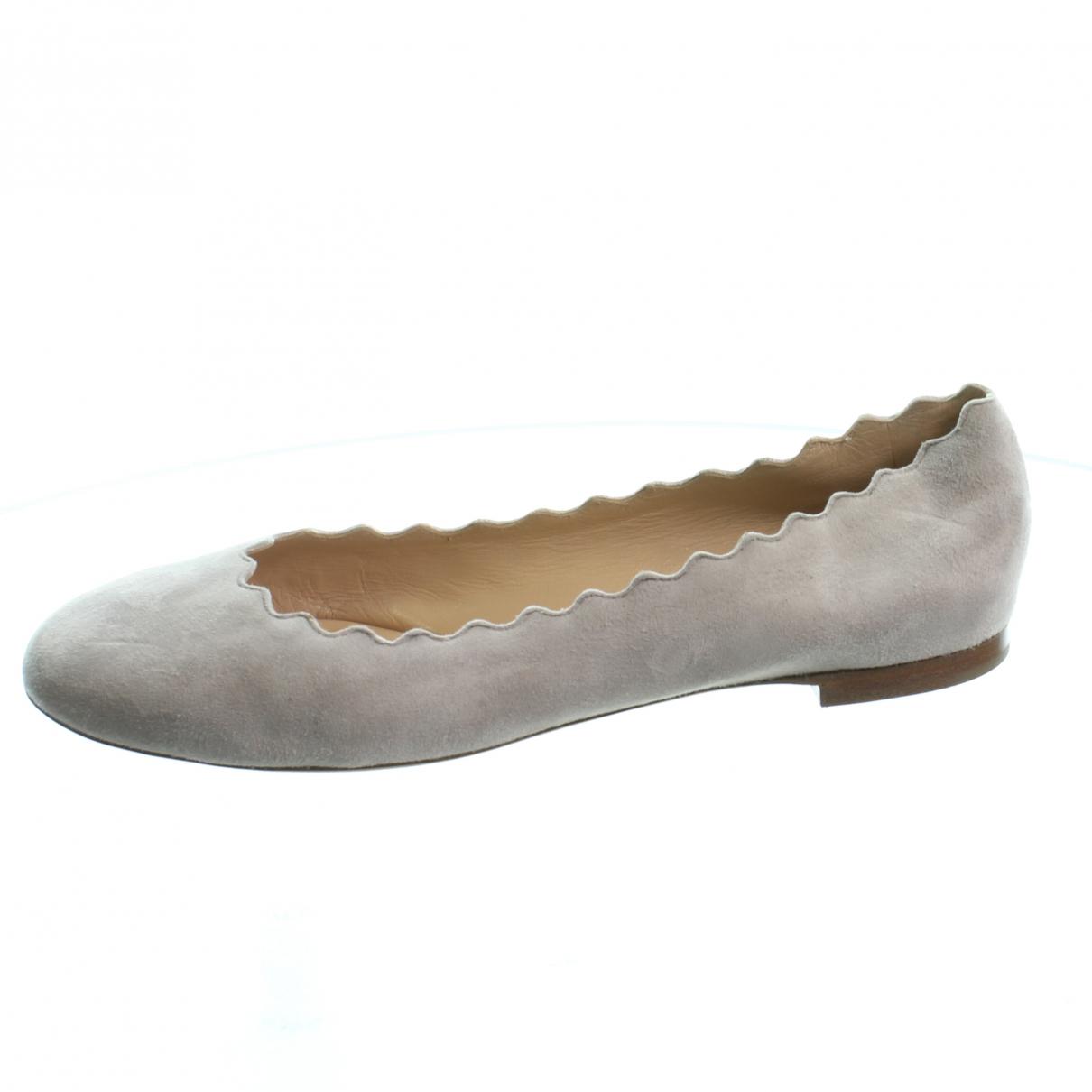 Chloe \N Ballerinas in  Grau Veloursleder