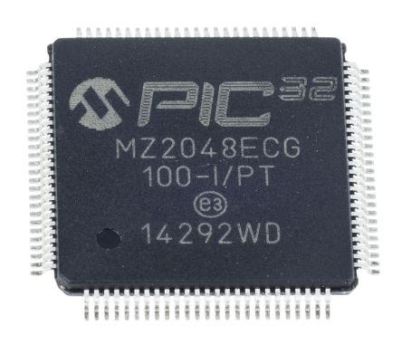Microchip PIC32MZ2048ECG100-I/PT, 32bit PIC Microcontroller, PIC32MZ, 200MHz, 2.048 MB Flash, 100-Pin TQFP
