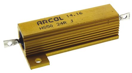 Arcol HS50 Series Aluminium Housed Axial Wire Wound Panel Mount Resistor, 24Ω ±5% 50W