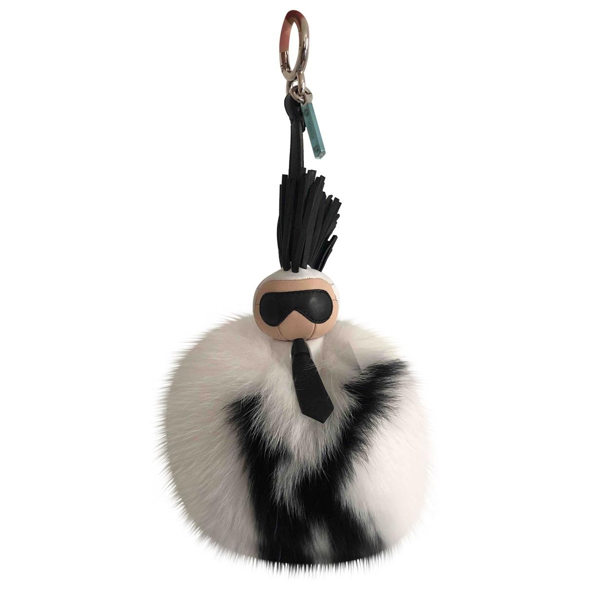 Fendi Pompon Karl White Fur Bag charms for Women \N