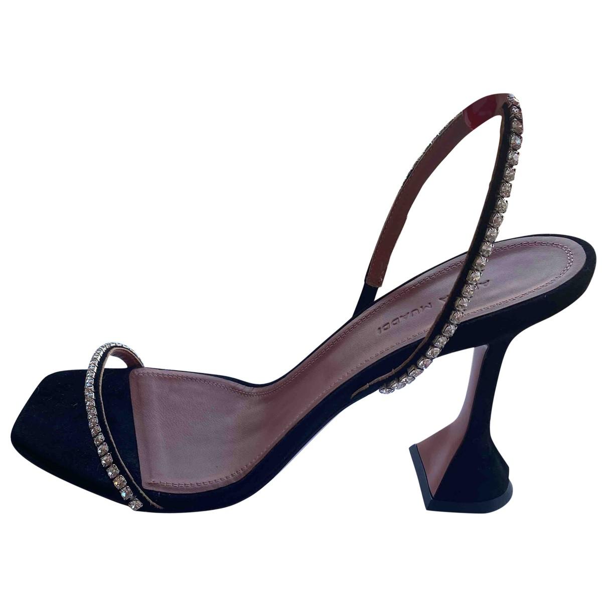 Amina Muaddi Gilda Black Suede Sandals for Women 41 EU