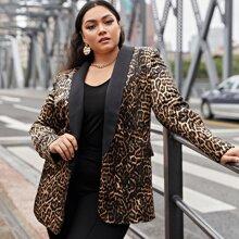 Blazer mit Schal Kragen und Leopard Muster