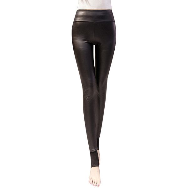 Women Winter Thick Thin Thermal Fleece Lined PU Stretchy Leggings Pants Elastic Pantyhose