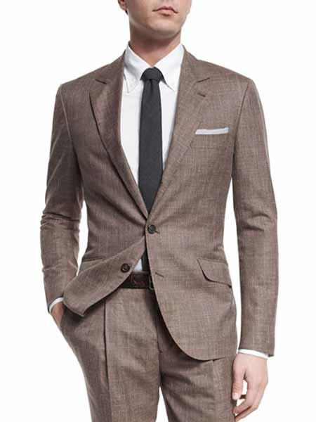 Mens 2 Button Taupe Single Breasted Notch Lapel Wool Blend  Suit