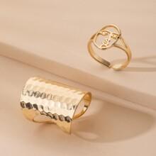 2 Stuecke Ring mit Gesicht Design