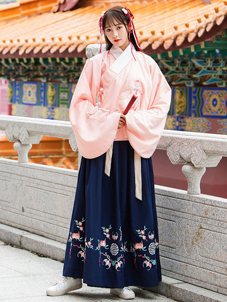 Milanoo Ancient Chinese Costume Hanfu Traditional Floral Women Top And Skirt Outfit Halloween
