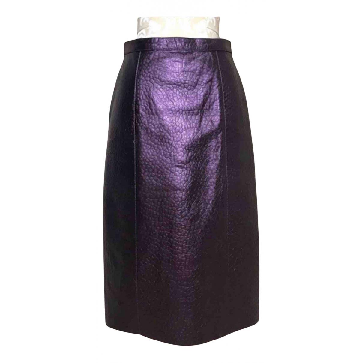 Burberry - Jupe   pour femme en cuir - violet