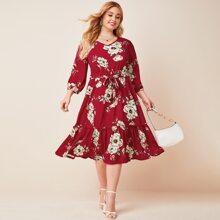 Plus Ruffle Hem Floral Print Belted Dress