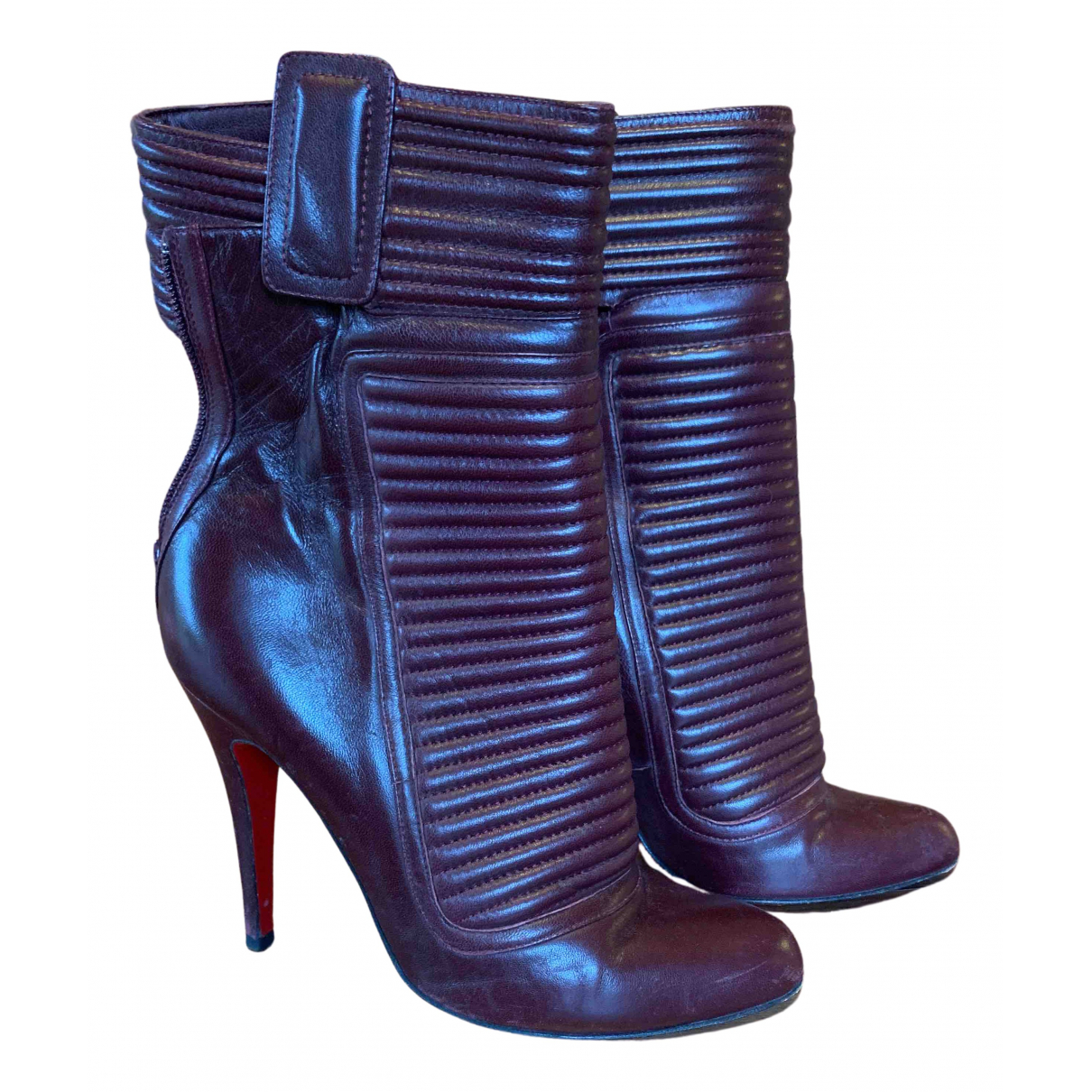 Christian Louboutin N Burgundy Leather Ankle boots for Women 38 EU