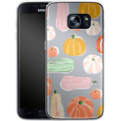 Samsung Galaxy S7 Silikon Handyhuelle - Pumpkin Pattern Grey von Mukta Lata Barua