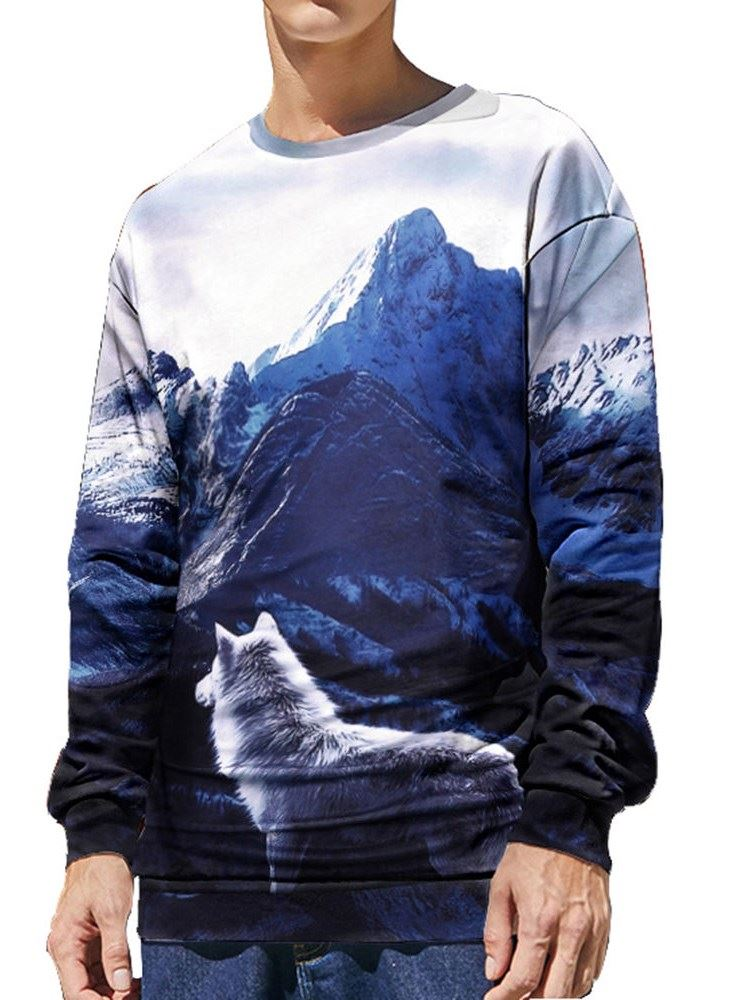 Soft and Comfortable 3D Snow Mountain and Wolf Printed Men's Hoodies Sweatshirts