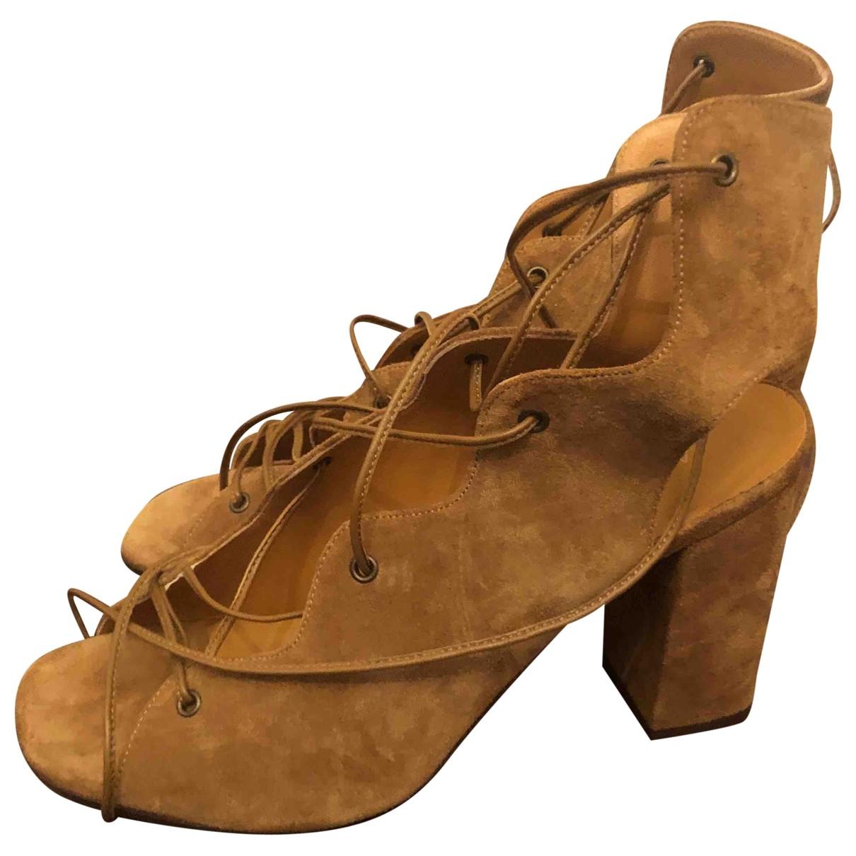 Saint Laurent \N Brown Suede Sandals for Women 38 EU