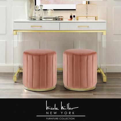 Orpheus Collection NON135-02BH-AC Ottoman with Contemporary Style  Velvet Upholstery and Matte Finish Metal Base in Blush and Gold