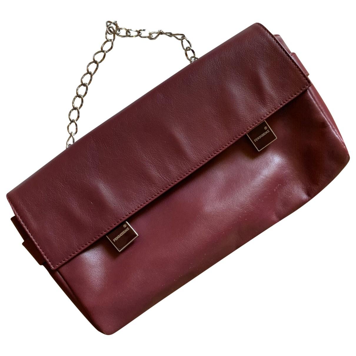 Fendissime \N Handtasche in  Bordeauxrot Leder