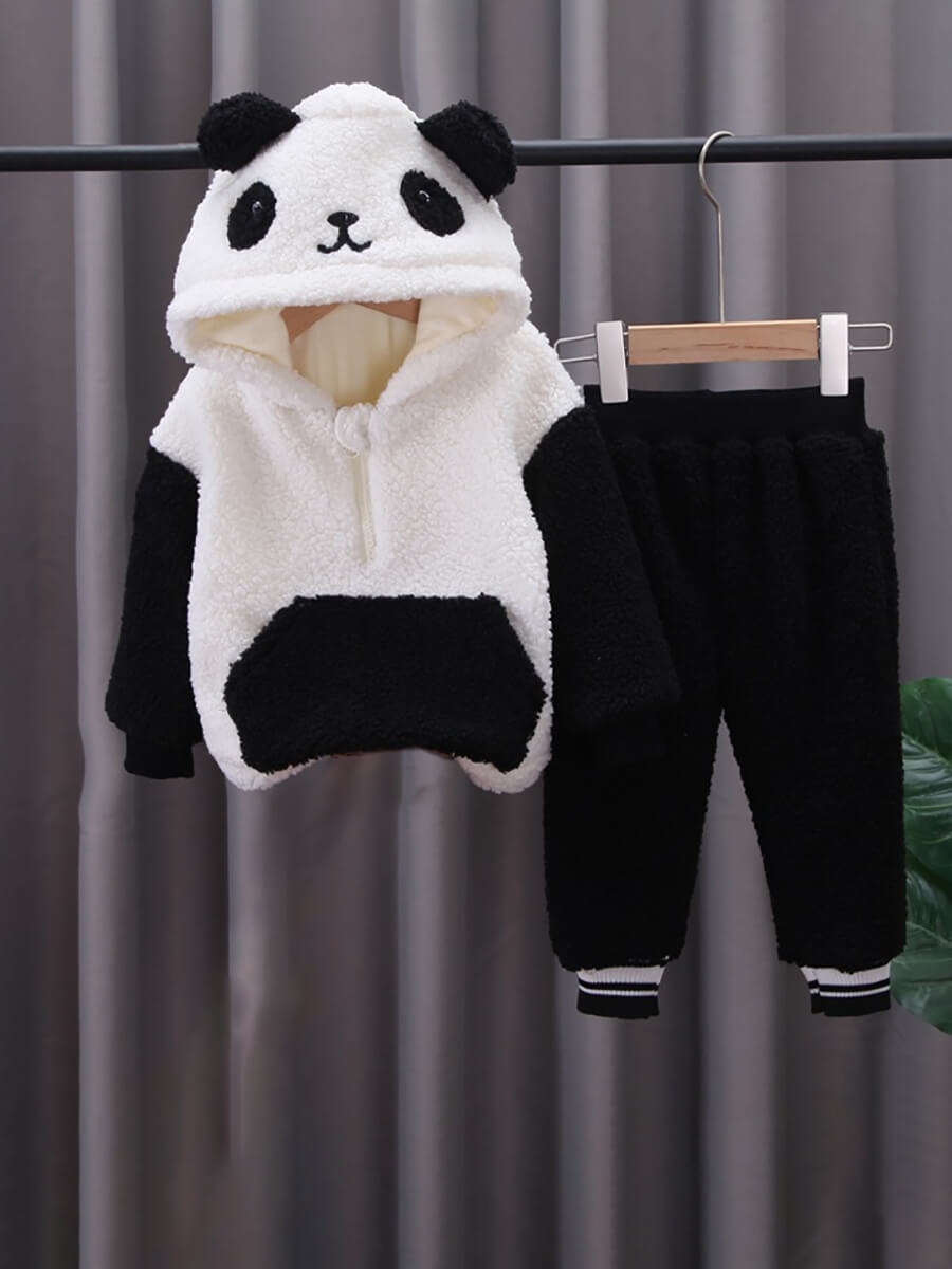 LW Lovely Swee Hooded Collar Patchwork White Girl Two-piece Pants Set