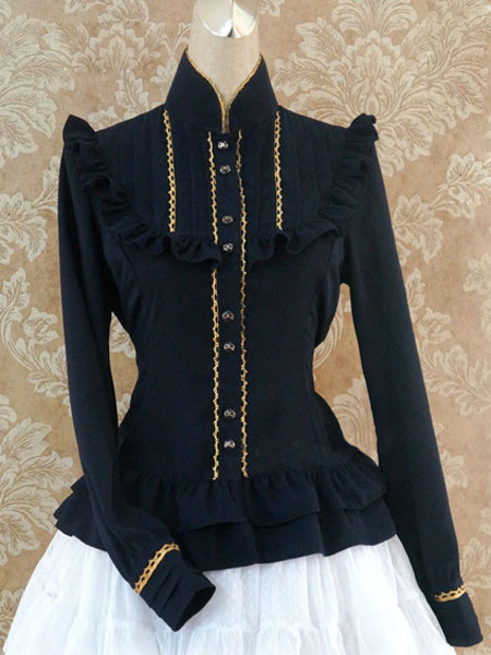 Milanoo Gothic Lolita Shirt Dark Navy Stand Collar Ruffles Long Sleeve Lolita Tops
