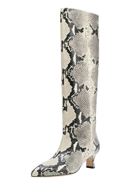 Milanoo Women Wide Calf Boots Pointed Toe Snake Pattern Kitten Heel Knee High Boots