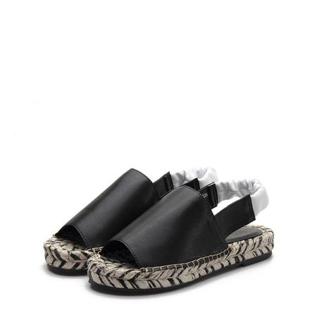 Yoins Black Peep Toe Leather Look Elastic Slingback Sandals