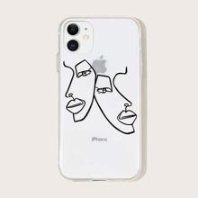 Funda de iphone con estampado de cara de figura simple
