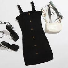 Strick Kleid mit Rueschenbesatz und Knopfen vorn