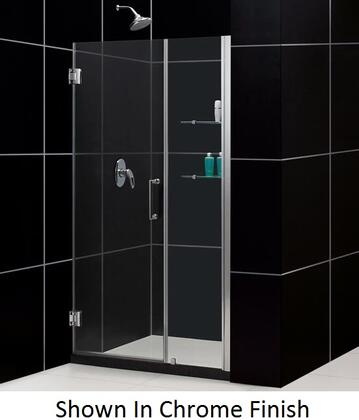 SHDR-20457210S-04 Unidoor 45-46 In. W X 72 In. H Frameless Hinged Shower Door With Shelves In Brushed