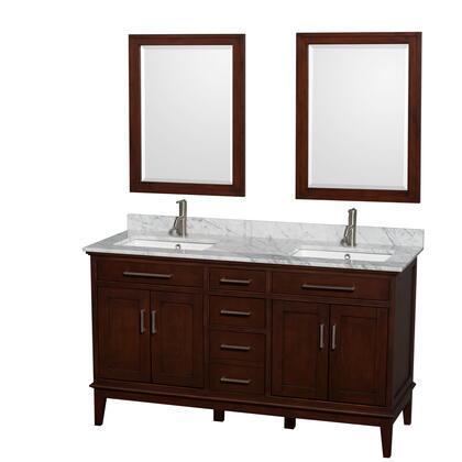 WCV161660DCDCMUNSM24 60 in. Double Bathroom Vanity in Dark Chestnut  White Carrera Marble Countertop  Undermount Square Sinks  and 24 in.