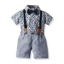 Vielfarbig Schleife vorn Kariert  Preppy Kleinkind Jungen zweiteilige Outfits