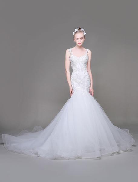 Milanoo Vestido de novia de sirena Con cola cintura natural con escote en corazon De banda de encaje sin mangas de silueta sirena