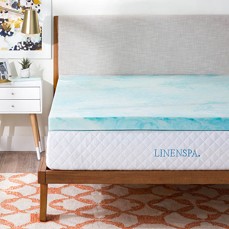 Linenspa 3 Inch Gel Swirl Memory Foam Mattress Topper, One Size , Blue