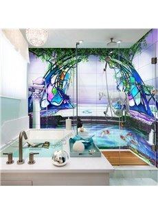 Amazing Goldfish and Horse Pond Scenery Waterproof 3D Bathroom Wall Murals