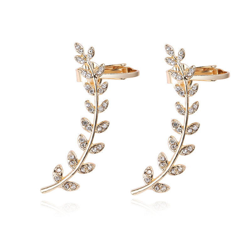 Gold Plated Earrings Leaves Rhinestone Earrings