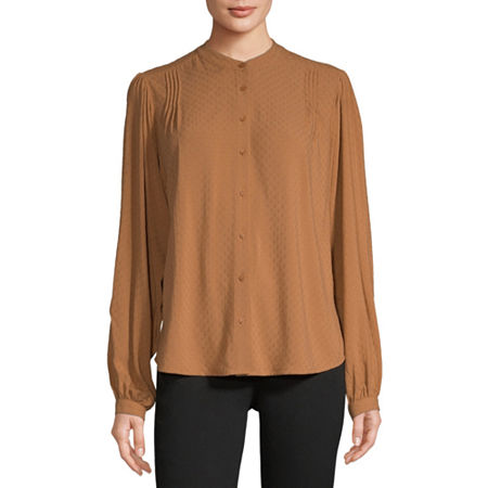 Worthington Womens Long Sleeve Blouse, Xx-large , Brown