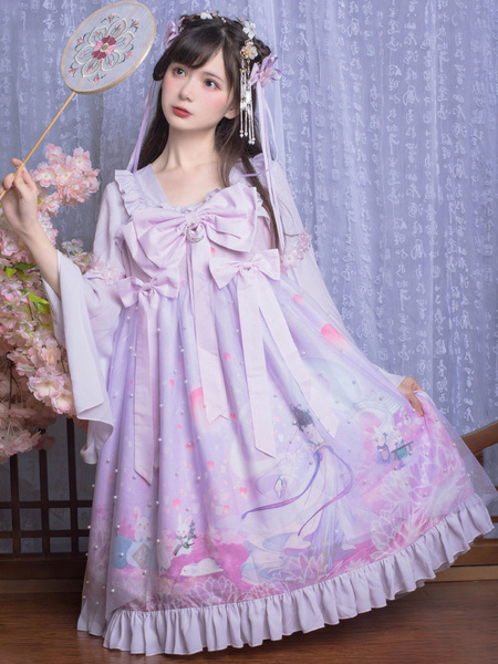 Milanoo Chinese Style Lolita OP Dress Changer Flying To The Moon Lavender Bows Lolita One Piece Dresses