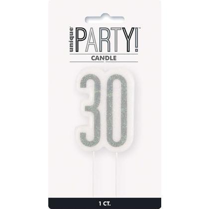 Glitz Black & Silver Numeral Birthday Candle - Age 30