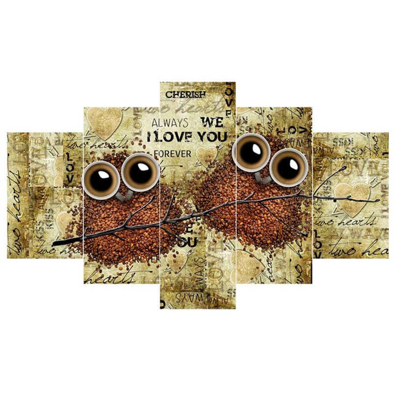 Owls on Branches Hanging 4-Piece Canvas Waterproof and Eco-friendly Non-framed Prints