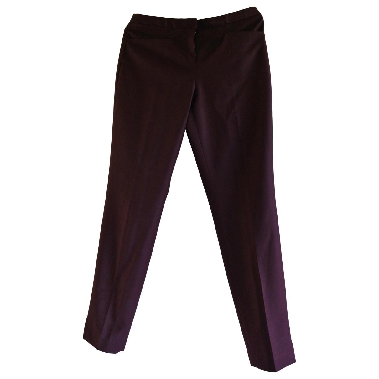 Ted Baker \N Burgundy Wool Trousers for Women 1 0-5
