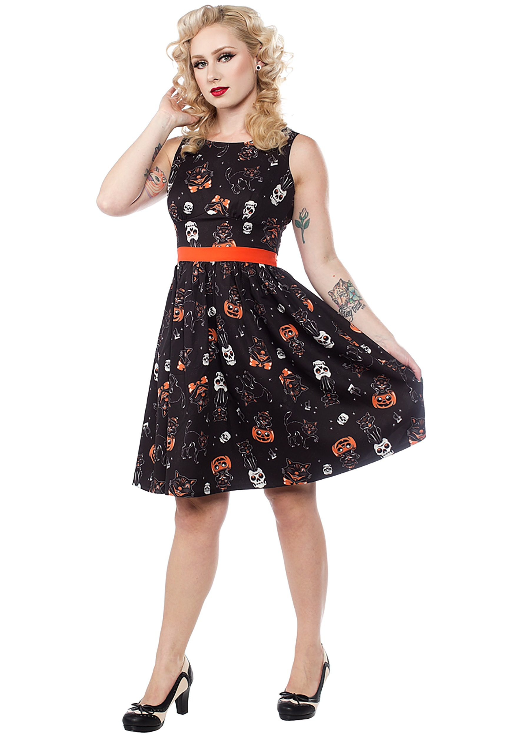Black Cats Halloween Shift Dress from Sourpuss Clothing