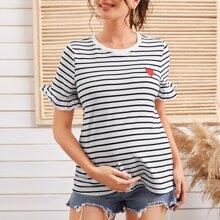 Umstandsmode T-Shirt mit Raffung auf Manschetten, Herzen Stickereien und Streifen