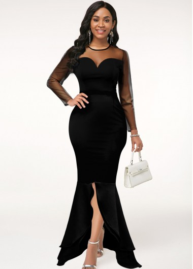 Black Dresses Front Slit Long Sleeve Mesh Stitching Mermaid Dress - XL